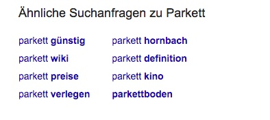 """8 suggestions for the keyword """"Parkett"""" displayed in Google Suggest"""