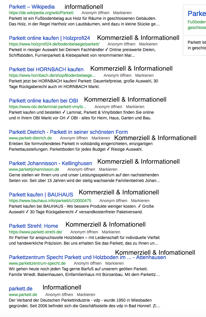 """List of SERPs as a result for the search term """"Parkett"""""""