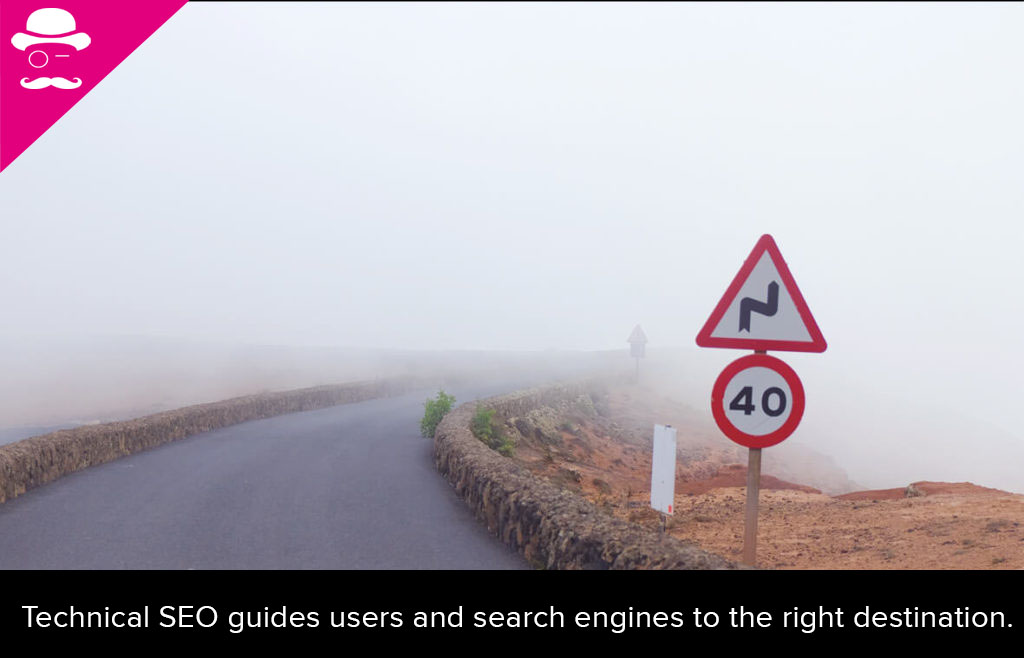 Google wants to understand search queries to always display the right results. The image shows a windy road in fog.